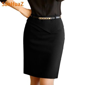 SanHuaZ High Quality Fashion 2017 Autumn Winter Casual Formal Pencil Ruffles Solid Sexy OL Women Ladies Package Hips Midi Skirt