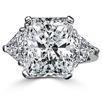 Intensely Radiant Diamond Veneer Center W/Two 1 CT. Triangular Sides Set in Sterling Silver Classic Ring. 635R71337
