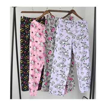 fleece corgi bottoms kawaii pajama pants bottoms trousers women's sleeping sleep wear lounge plus size harajuku xl nightwear
