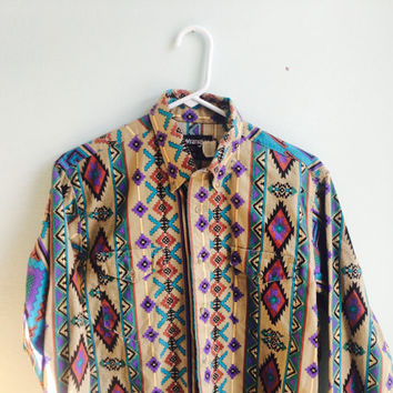 crazy native american pattern button down / wrangler cowboy shirt / medium