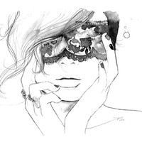 Masked, print from original watercolor fashion illustration by Jessica Durrant