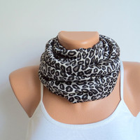 Leopard pattern scarf/ Loop scarf/Satin scarf/Scarves women/ Circle scarf/Ready to shipping.