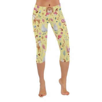 Cute Animals Knee Length Yoga Capri Leggings