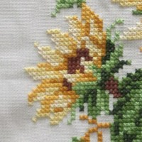 Sunflower Quilting Insert for DIY Pillow - Hand Cross Stitch in Sunny Yellow - Crafting Supply