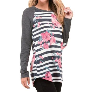 Women's Charcoal Gray Raglan Floral Arm Patch Sleeve Printed T-Shirt Top