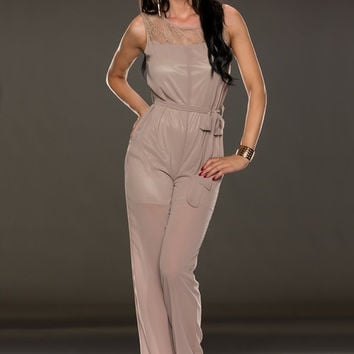 Apricot Sleeveless Upper Lace Jumpsuit