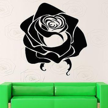 Wall Stickers Vinyl Decal Black Rose Flower Room Home Decor Unique Gift (ig1722)