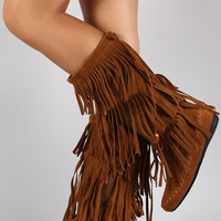 Suede Triple Layered Fringe Round Toe Mid Calf Boot