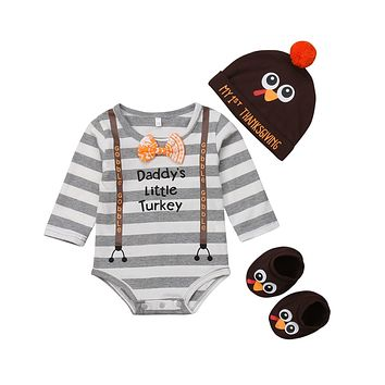 FOCUSNORM Cute Thanksgiving Infant Baby Boys Romper Long Sleeve Striped Print Letter Daddy Hat+Socks Clothes Outfit Set