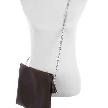 Brown Faux Leather Crossbody Clutch Bag Accessory
