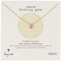 "Dogeared ""Lasting Healing Gems"" Cherry Quartz Gold Pendant Necklace, 16"""