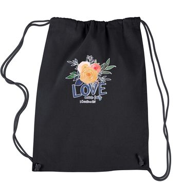 Love Never Fails Corinthians Bible Quote Drawstring Backpack