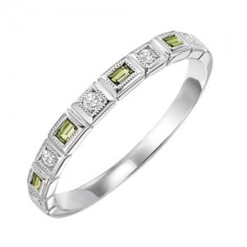 10k white gold diamond and emerald cut peridot birthstone ring