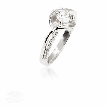 Wave Engagement Ring, Unique Engagement Ring, Solitare Ring, Engagement Side Diamonds Ring