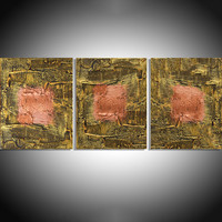 """ARTFINDER: """" Copper State """" extra large huge triptych 3 panel wall art copper burnt umber effect painting big abstract metallic impasto elegant abstraction 48 x 20"""" by Stuart Wright - """" Copper State """" A set of 3 elegant large elega..."""