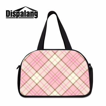 Dispalang baby pink cute casual duffel bags for girls ladies plaid hand luggage bag canvas totes sporty bag for women yaga bag
