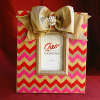 Handmade 4x6 Picture Frame Pink and Gold Chevron Zig Zag with Couture Bow and Brooch