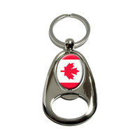 Canada Flag Spinning Oval Bottle Opener Keychain
