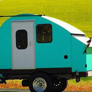 Groovy little Handcrafted Custom Teardrop Trailer in Retro Vintage Style perefect for Glamping route 66 Theme