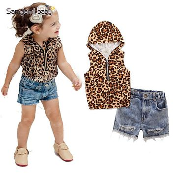Fashion Girl's clothing sets children's clothes baby girl sleeveless leopard print shirts sweatshirts+short jeans