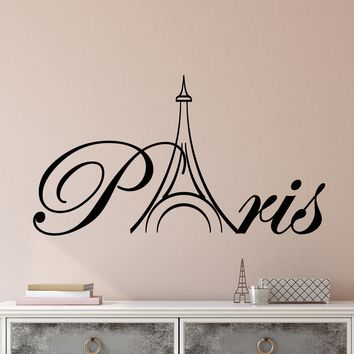 Vinyl Wall Decal Word Paris Eiffel Tower France Stickers (2708ig)