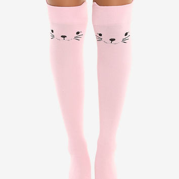 Blackheart Pink Kitty Over-The-Knee Socks