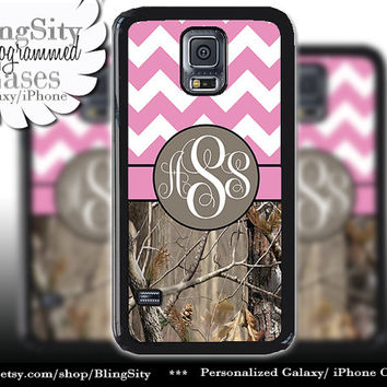 Monogram Galaxy S5 case S4 Real Tree Camo Pink Fat Chevron Personalized Zig Zag Samsung Galaxy S3 Note 2 3 Cover Country Girl
