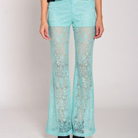 Lace Leggings In Aqua