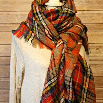 Orange/Tan/Navy Blanket Scarf