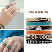 2015 Fashion punk rings set gold plated 6 pcs stacking joint rings Arrow Bohemian metal midi ring set  for women girls (Size: 1.7cm, Color: Blue) = 1928828100