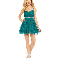 B. Darlin Spaghetti Strap Glitter Corkscrew Dress | Dillards