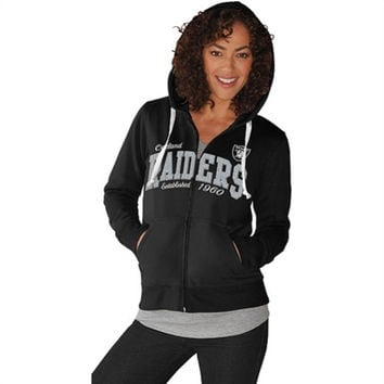 G-III Oakland Raiders Ladies Second Round Full Zip Hooded Sweatshirt