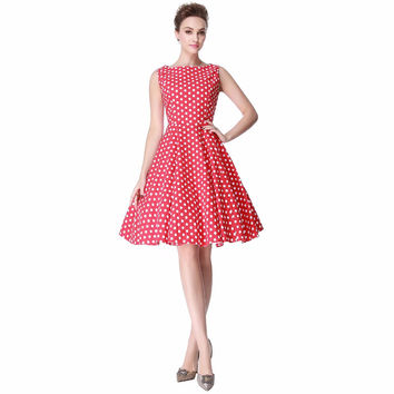 Heroecol Women's O Neck Sleeveless Vintage 50s 60s Swing Style Cotton Dresses Rockabilly 1950s 50's Party Red White  Dress