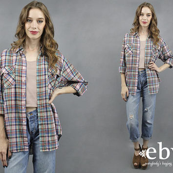 Thin Plaid Shirt Plaid Button Up Oversized Plaid Shirt 70s Plaid Shirt 1970s Plaid Shirt Oversized Shirt Plaid Button Down Men's Shirt XL