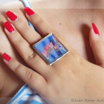 Glass ring - Square ring - Resin ring - blue ring - pink ring -Image ring - Abstract ring - Big ring - silver ring