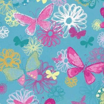 Pink Colorful Butterflies Blue Platinum Cloth Backdrop - 5x6 - LCPC7253 - LAST CALL