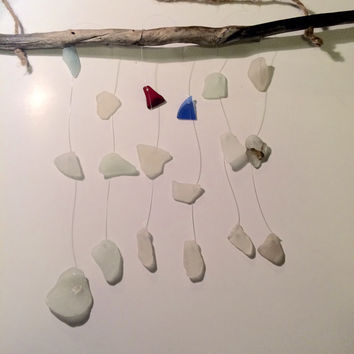 Heart of the ocean texas sea glass wind chime authentic seaglass and dtiftwood beach glass art natural orginal design trash to treasure