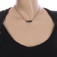 Black Natural Stone Bead Adjustable Cord Necklace