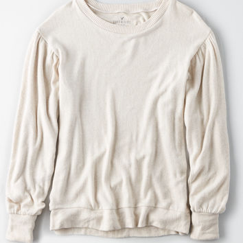 AE SOFT & SEXY PLUSH BALLOON SLEEVE SWEATSHIRT, Sand