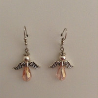 Silver Angel Earrings with Pink Teardrop crystals