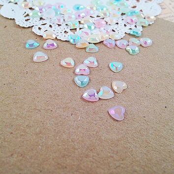 6mm Mixed Colors Rainbow Flatback Faceted Pastel Heart Rhinestones for Scrapbooking Embellishment Decoden Fairy Kei