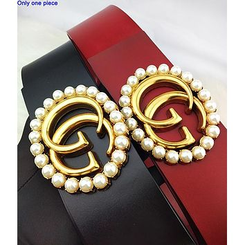 GUCCI hot seller for fashionable women with large pearl and gold buckle belts