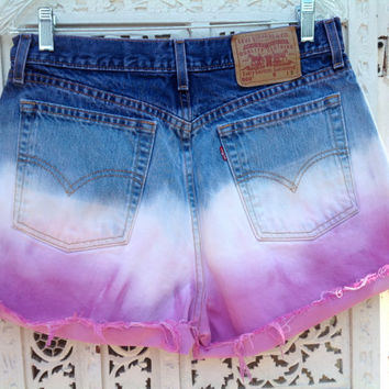 Orchid and Navy Dip Dyed Ombre High Waisted Levi's Shorts 31 waist  Size 12 //SuzNews Etsy Store//