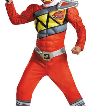 power rangers dino charge: red ranger muscle child costume - large (10-12)