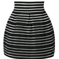 Black Stripe Bubble Mini Skirt
