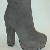 Gray Heeled Booties