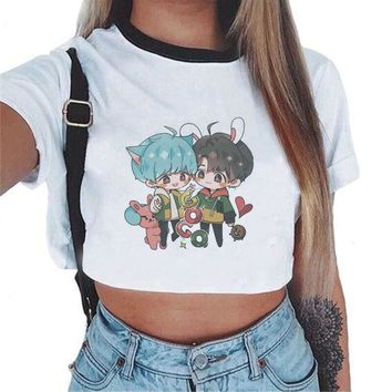 2018 Kpop New Army BTS BT21 Printed White Sweatshirt Korean Style Women Crop Top Harajuku Kawaii Hoodies Fashion Cropped Tumblr