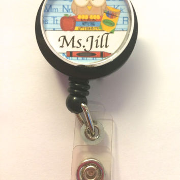 Teacher Retractable Badge Holder Personalized-ID Badge Reel,Teacher gift,teacher ID badge,class room gift