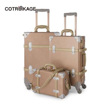 "COTRUNKAGE 3 Pieces Rose Gold Retro Pu Leather Suitcase Set 13"" 20"" 26"" Women Trunk Vintage Luggages Girls Rolling Luggage Sets"