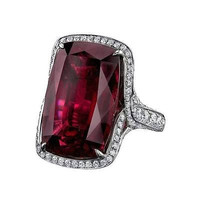 AMAZING 14.25CT RED RUBY EMERALD 925 STERLING SILVER ENGAGEMENT AND WEDDING RING